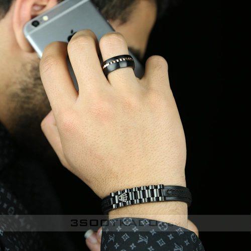 ست دستبند چرم و انگشتر