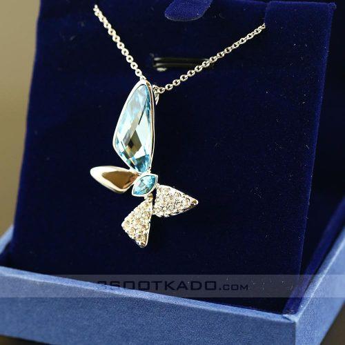 گردنبند با سنگ سواروسکی طرح Aquamarine Butterfly