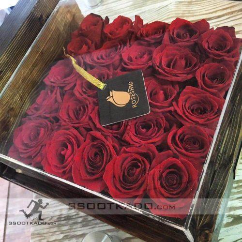 خرید جعبه گل رز چوبی بیست و پنج شاخه