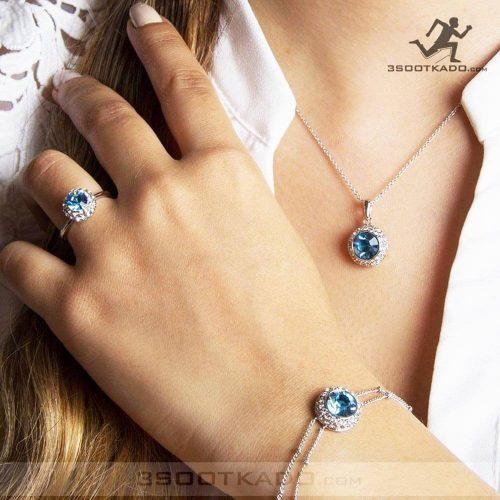 ست گردنبند و انگشتر و دستبند با سنگ سواروسکی طرح آریانا