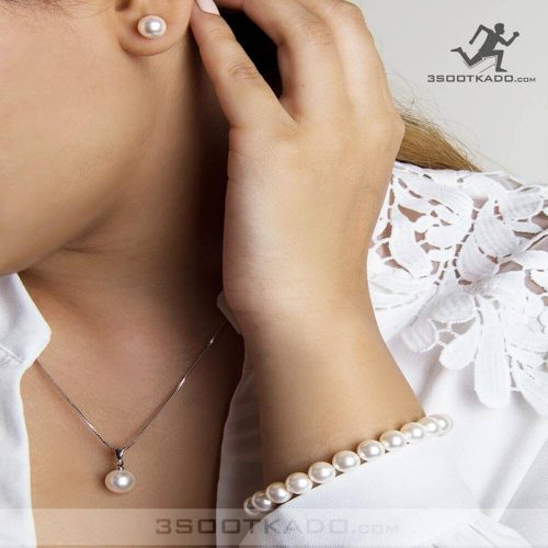 ست گردنبند و گوشواره و دستبند سواروسکی طرح Pearl