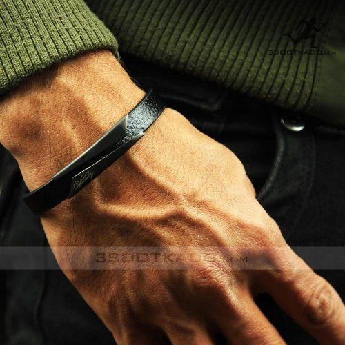 خرید دستبند چرم طبیعی مشکی برند ویتالی