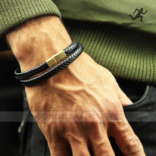 خرید دستبند چرم طبیعی با پلاک طلایی