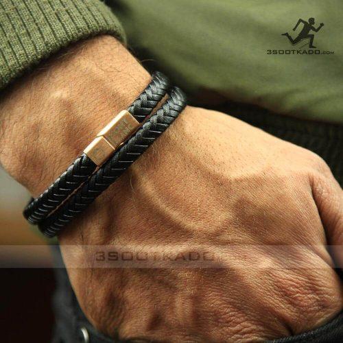 خرید دستبند چرم طبیعی رزگلد