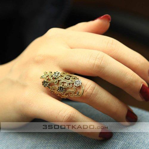 خرید انگشتر سیاه قلم طلایی زنانه