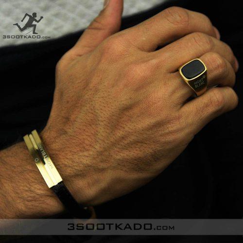خرید دستبند چرم مردانه و انگشتر مردانه ست