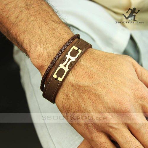 خرید دستبند چرم و طلا مردانه