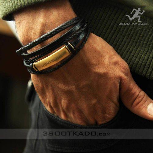 خرید دستبند چرم طبیعی مردانه برند مون بلن