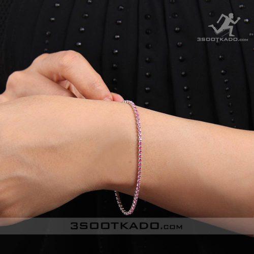خرید دستبند سواروسکی اصل با کریستال صورتی