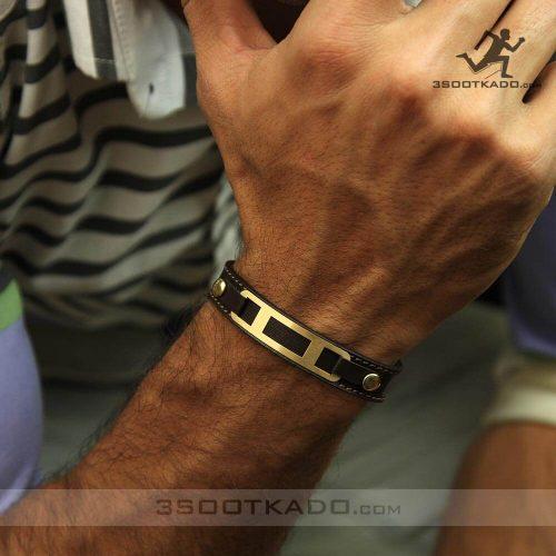 خرید دستبند طلا مردانه با بند چرم