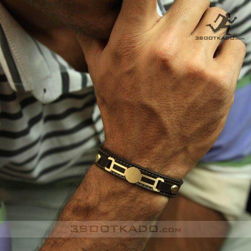 خرید دستبند طلا با بند چرم اصل مشهد
