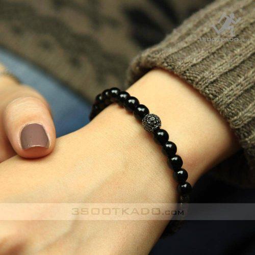 خرید دستبند دست ساز سنگ انیکس و حدید و گوی سواروسکی
