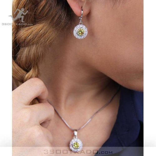 خرید نیم ست سواروسکی شامل گردنبند و گوشواره با کریستال سواروسکی