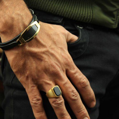 خرید دستبند چرم و انگشتر