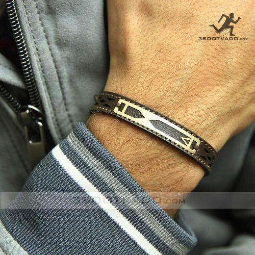 خرید دستبند چرم با پلاک طلا