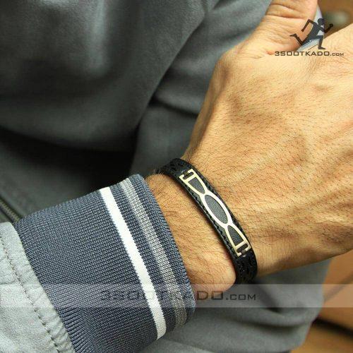 دستبند طلا مردانه چرم