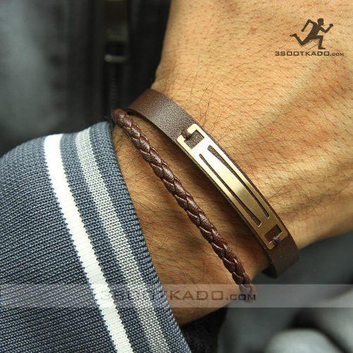 خرید دستبند طلا چرمی