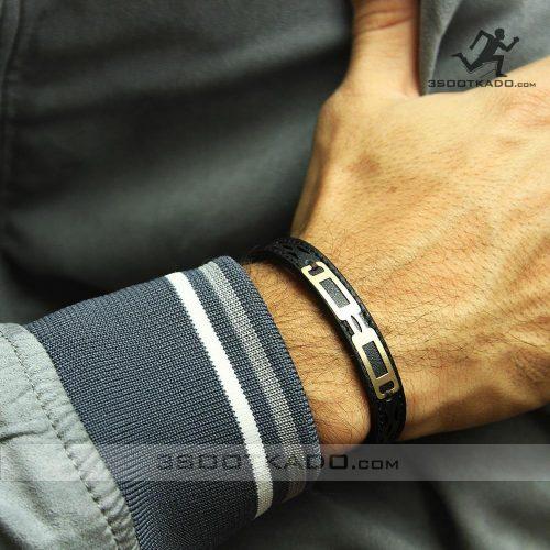 دستبند چرم مشکی مشهد با پلاک طلا