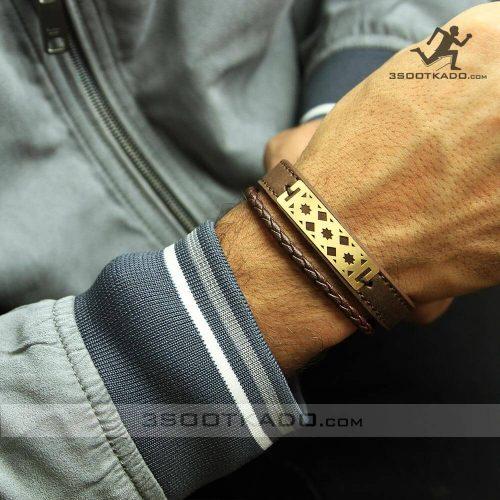 خرید دستبند چرمی مردانه با طلای 18 عیار