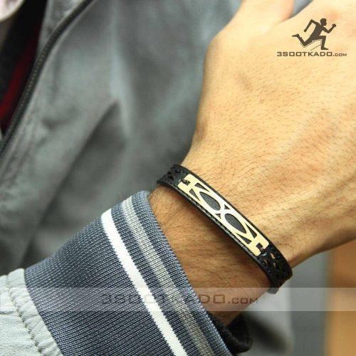خرید دستبند چرم مردانه با پلاک طلا 18 عیار
