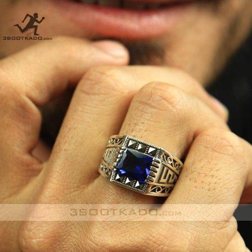 خرید انگشتر نقره مردانه با کریستال سواروسکی آبی