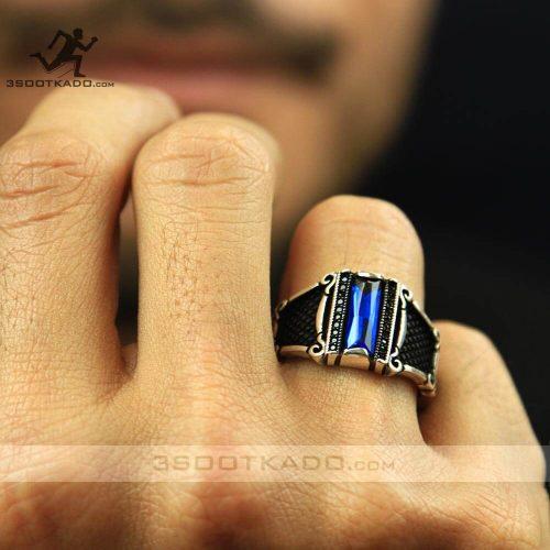 خرید انگشتر نقره مردانه با نگین آبی