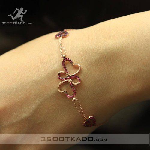 خرید دستبند نقره رزگلد