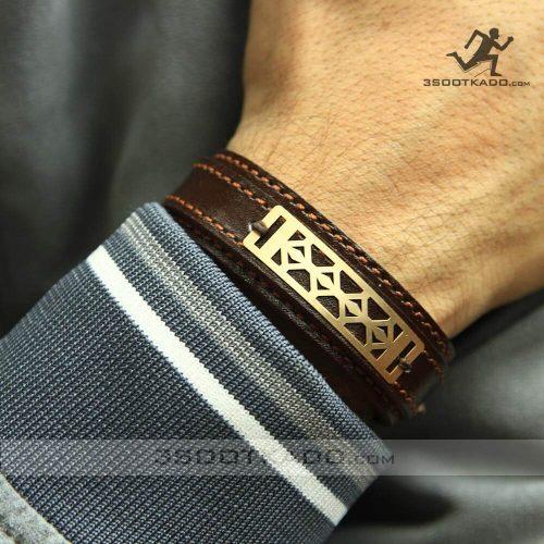خرید دستبند چرم با پلاک طلا مردانه