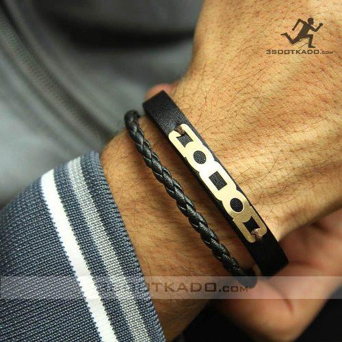 خرید دستبند چرم و طلا مردانه کادو ولنتاین