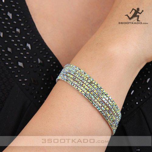 خرید دستبند با کریستال سواروسکی رنگ زمردی