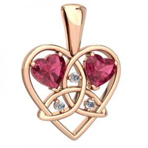 زیباترین گردنبند قلبی شکل: سنگ ماه تولد کهربا یا تورمالین سواروسکی: اکتبر (متولدین 9 مهر تا 9 آبان)