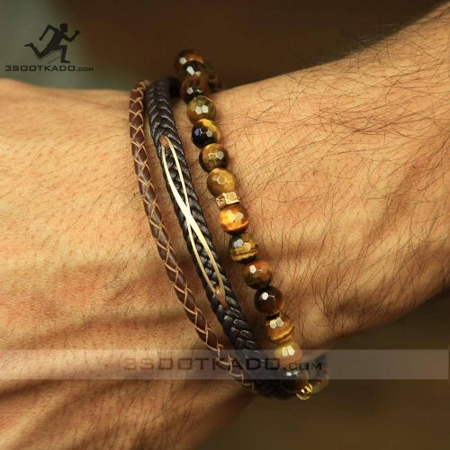 خرید دستبند چرم و طلا و سنگ