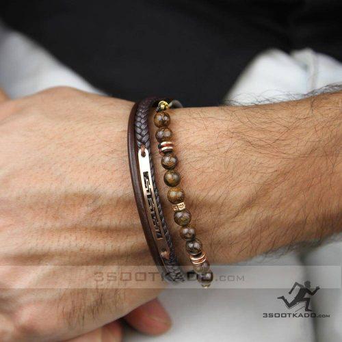 خرید دستبند سنگ و چرم با پلاک طلا