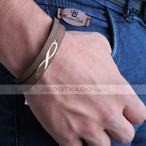 دستبند چرم و طلا مردانه طرح نیما
