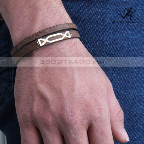 دستبند چرم و طلا مردانه طرح داراب