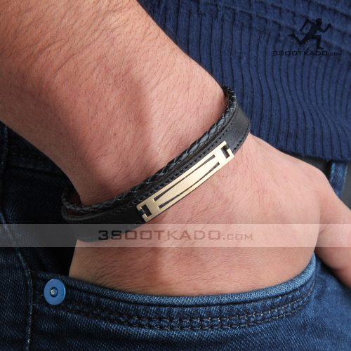دستبند چرم و طلا مردانه طرح ژوپین