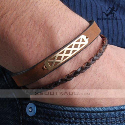 دستبند چرم و طلا مردانه طرح چینود