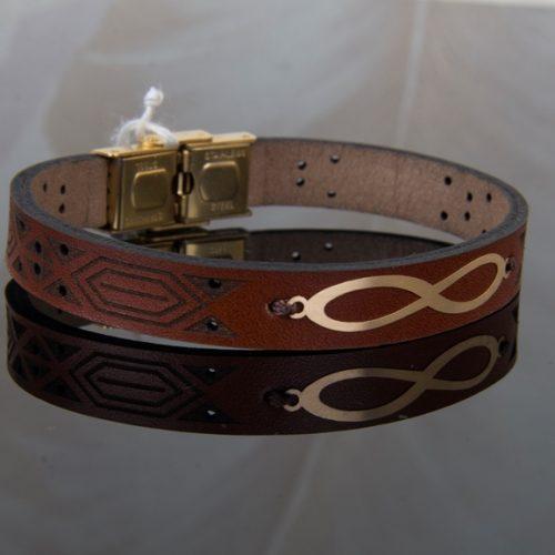 دستبند چرم و طلا مردانه طرح رهام