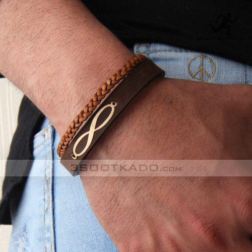 دستبند چرم و طلا مردانه طرح تایماز