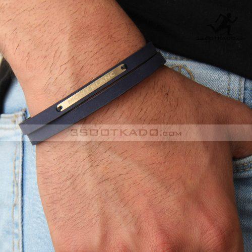 دستبند چرم وطلا مردانه طرح montblanc navy blue