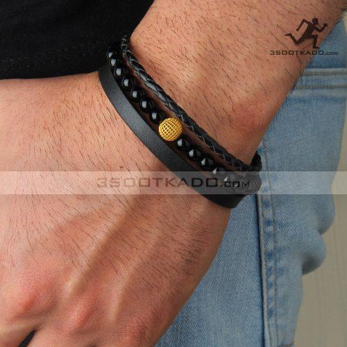 دستبند چرم و طلا و سنگ مردانه طرح آیهان