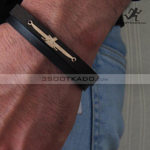 دستبند چرم و طلا مردانه طرح فروهر