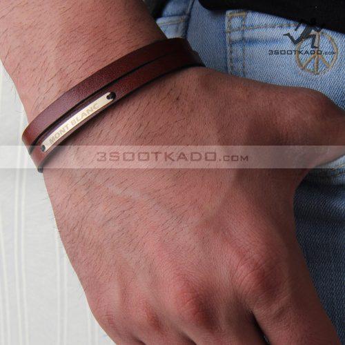 دستبند چرم و طلا مردانه طرح montblanc red