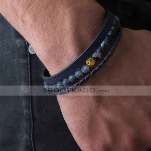 دستبند چرم و طلا و سنگ مردانه طرح هاکتان