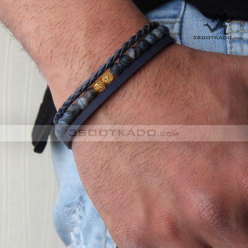 دستبند چرم و طلا و سنگ مردانه طرح هاکان