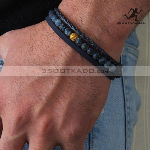 دستبند چرم و طلا و سنگ مردانه طرح سینان