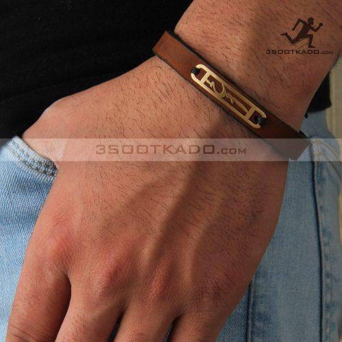 دستبند چرم و طلا مردانه طرح یکتا