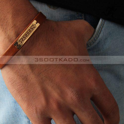 دستبند چرم و طلا مردانه طرح ایلگار