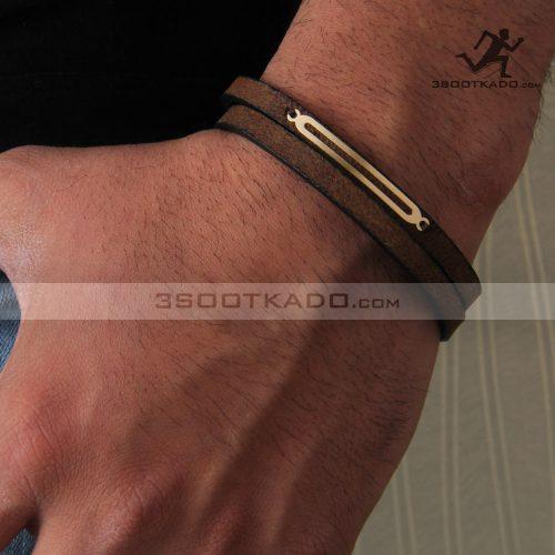 دستبند چرم و طلا مردانه طرح تایلان