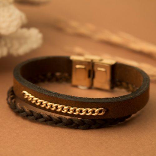 دستبند چرم و طلا مردانه طرح آرنا